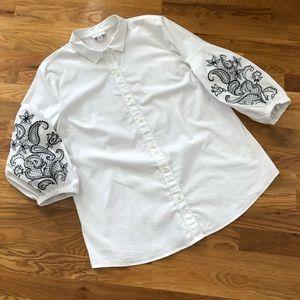 J. Jill White Shirt Collection Balloon Sleeve